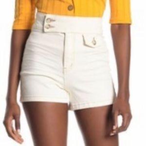 New..! Free People Sammi Retro Shorts White Sz 29